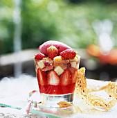 Fresh fruit with iced tea and lemon grass