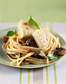 Spaghetti nest with rocamadour cheese