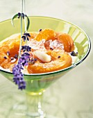 Apricots with lavander-flavored almond milk