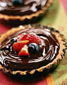 Chocolate and summer fruit tartlets