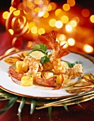 Sautéed Mediterranean prawns and pineapple