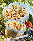 Pasta and surimi salad