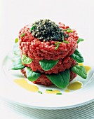 Beef tartare with basil and caviar