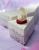 White chocolate and blackberry entremet dessert