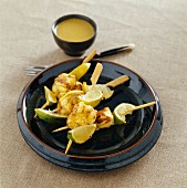 Empereur and lime green curry brochettes