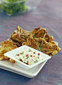 Parasol mushroom fritters with a dip