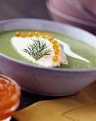 cress soup with salmon roe
