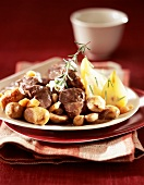 Sauteed venison with white sausage