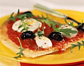 Tomato and olive pizza