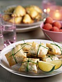goat's cheese and basil in filo parcels
