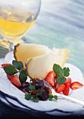 Tomme de brebis with rhubarb jam