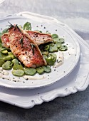 Redmullet fillet with broad beans and sugar peas and Monthais cheese cream