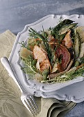 salmon and scorpion fish salad with parmesan cheese