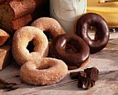 Sugar and chocolate donuts
