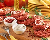 Raw beefburgers