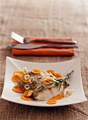 Pike-perch with herbs and carrots