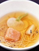 salmon and vermicelli broth