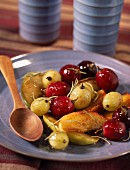 Roasted grapes with honey and rosemary