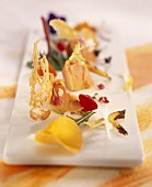 Semi-cooked foie gras salad with flowers and forest fruits
