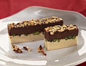 white and dark chocolate turrón with dried fruits