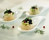 mini tartars of sea bream with caviar