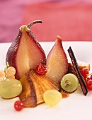 Pears poached in wine and caramelized apple fruit salad