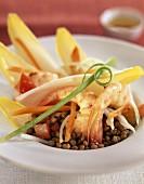endive and lentil salad with shrimp