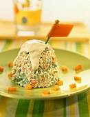 Rice and vegetable mayonnaise dome
