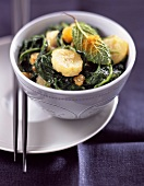 spinach and pan-fried curried banana