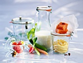 Stillleben mit Zutaten für eine ausgewogene Diät