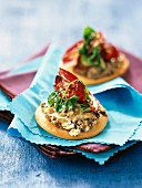 Minis pizzas with fresh goat cheese,tapenade and mayonnaise ( topic : mayonnaise)