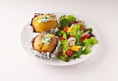 baked potatoes with mixed salad