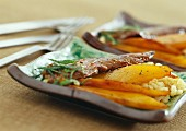 Duck fillets with wheat and mango