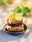 Sardine, potato and tapenade savoury Charlotte
