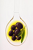 black olives in spoonful of oil