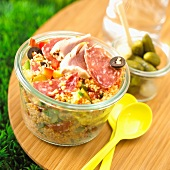 cooked meat and tuna tabbouleh