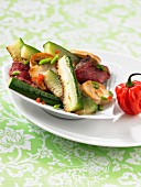 Pan-fried vegetables and beef