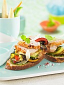 guinea fowl and grilled vegetable open sandwich t