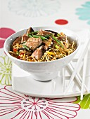 Sauteed noodles with veal