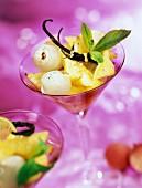 Vanilla-flavored exotic fruit salad