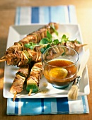 turkey and pork skewers with lime