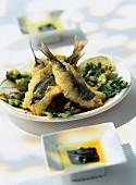 Sardine and parsley tempura