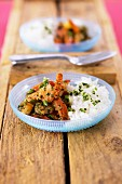 Shrimps sauteed with fresh mint