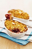 Raspberry,pear and almond crumble