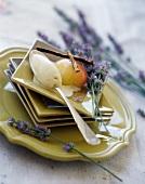 Poached Drôme peach with almond milk ice cream (Restaurant: Les Cèdres)