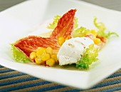 pink endive salad with corn and fresh cheese