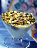 pistachio cream with pine nuts
