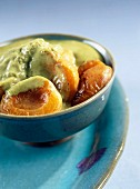 Apricots with matcha tea-flavored cream