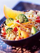 orange and vegetable rice (topic: citrus fruit)