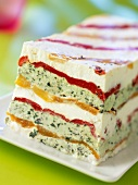 ricotta, marinated pepper, basil and honey terrine (topic: ricotta)